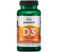 Vitamin D3 Highest Potency 1000 iU (25 mcg) 250 caps Swanson